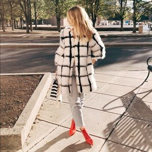 SHACI Faux Fur Grid Coat